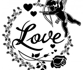 Cupid with valentine decorative silhouettes vector 06
