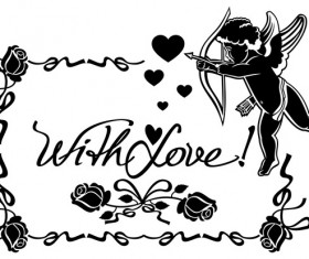 Cupid with valentine decorative silhouettes vector 07