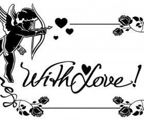 Cupid with valentine decorative silhouettes vector 08