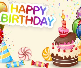 Cute birthday cake with birthday card vector 03