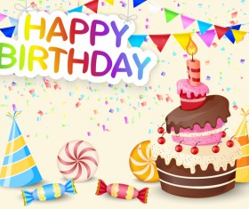 Cute birthday cake with birthday card vector 04