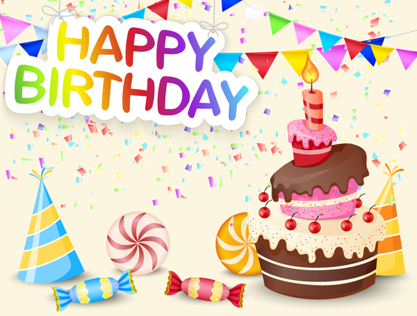 Cute birthday cake with birthday card vector 04 free download