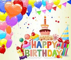 Cute birthday cake with birthday card vector 05