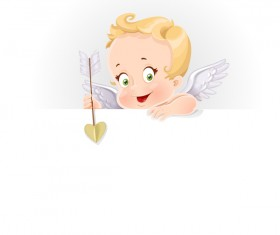 Cute cupid baby with paper background vector
