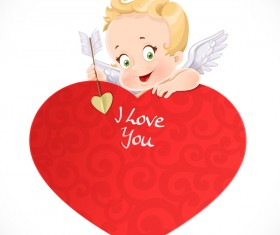 Cute cupid with big red heart and valentine card vector