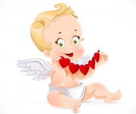 Cute cupid with red paper hearts and white background vector