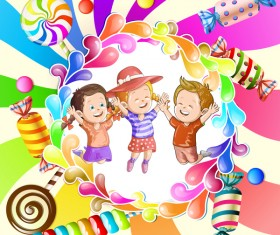 Cute kids with cake and candies vector material 01