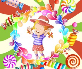 Cute kids with cake and candies vector material 02