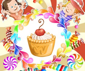Cute kids with cake and candies vector material 03