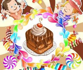 Cute kids with cake and candies vector material 04