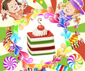 Cute kids with cake and candies vector material 05