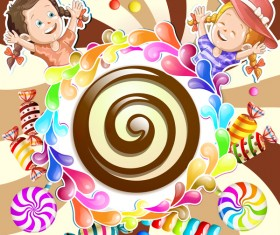 Cute kids with cake and candies vector material 09