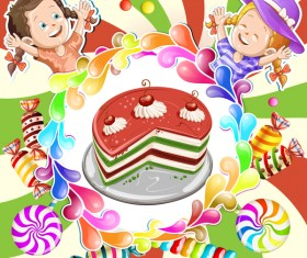 Cute kids with cake and candies vector material 10