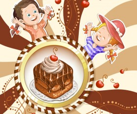 Cute kids with cake and candies vector material 11