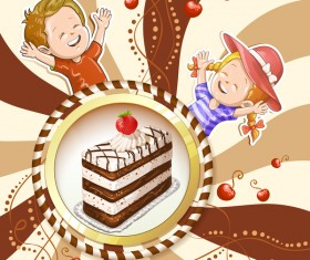 Cute kids with cake and candies vector material 12