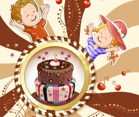 Cute kids with cake and candies vector material 13