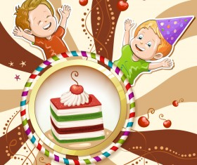 Cute kids with cake and candies vector material 14