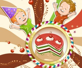 Cute kids with cake and candies vector material 15