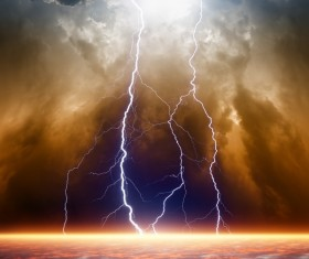 Dark clouds of lightning Stock Photo