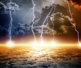 Dark clouds of lightning Stock Photo 02