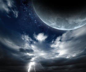 Dark clouds of lightning and the planet Stock Photo 01