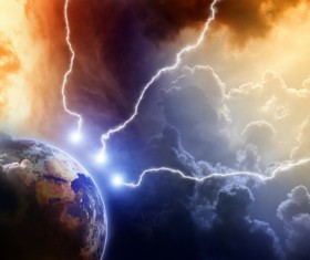 Dark clouds of lightning and the planet Stock Photo 02