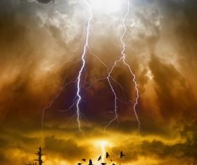 Dark clouds of lightning birds Stock Photo