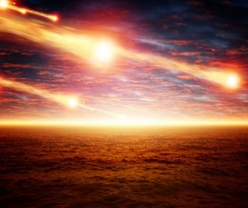 Dark red sky with a fire meteor Stock Photo