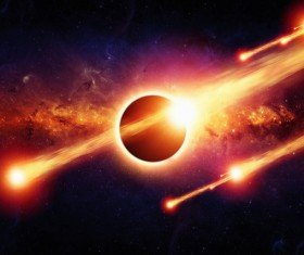 Dark red sky with fire meteor and planet Stock Photo