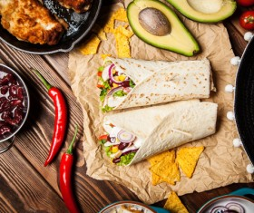 Delicious Mexican burrito with pepper avocado Stock Photo 01