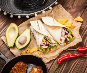 Delicious Mexican burrito with pepper avocado Stock Photo 02