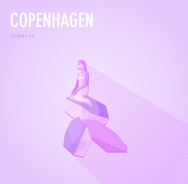 Denmark copenhagen monuments vector