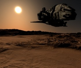 Desolate planet and spacecraft Stock Photo