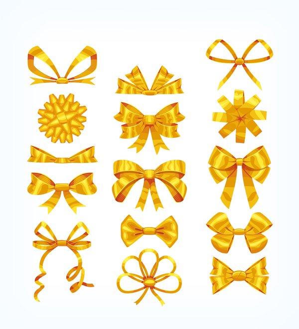 Different golden bow vector