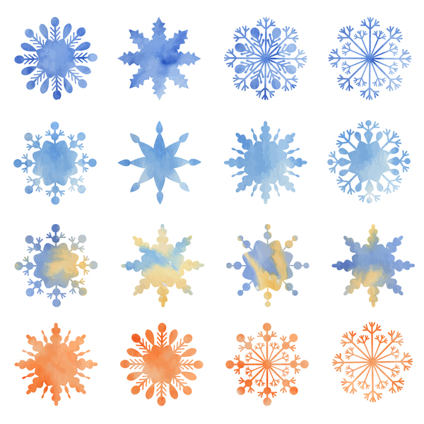Different snowflake watecolor icons vector
