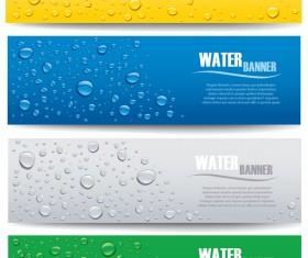 Different waterdrops banner vector set