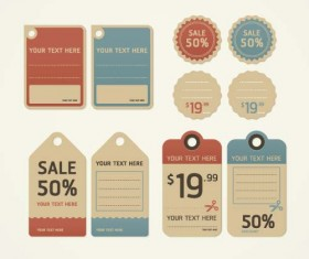Discount retro tags with badge vector set