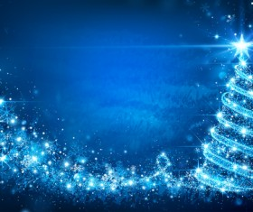 Dream christmas tree with blue xmas background vector 01