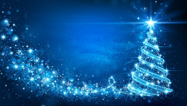 Christmas Tree Backgrounds.Dream Christmas Tree With Blue Xmas Background Vector 01