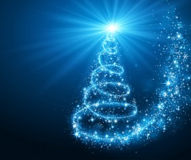 Dream christmas tree with blue xmas background vector 02