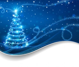 Dream christmas tree with blue xmas background vector 06