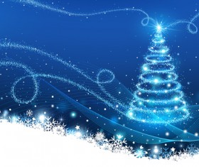 Dream christmas tree with blue xmas background vector 07