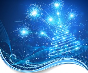 Dream christmas tree with blue xmas background vector 08