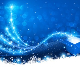 Dream christmas tree with blue xmas background vector 09