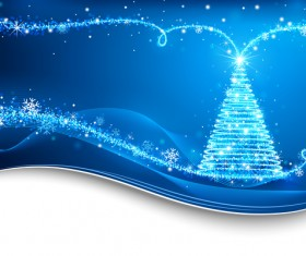 Dream christmas tree with blue xmas background vector 11