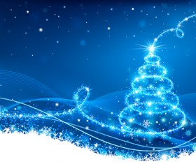 Dream christmas tree with blue xmas background vector 12