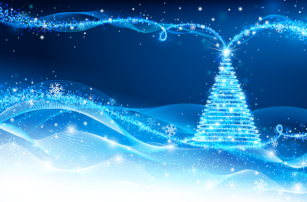 Dream christmas tree with blue xmas background vector 13