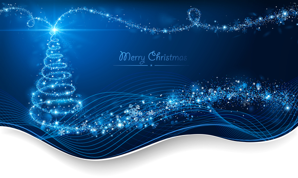 Dream christmas tree with blue xmas background vector 15