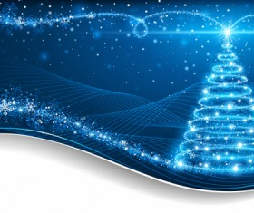 Dream christmas tree with blue xmas background vector 16