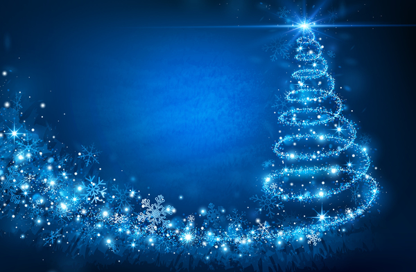 Dream christmas tree with blue xmas background vector 17